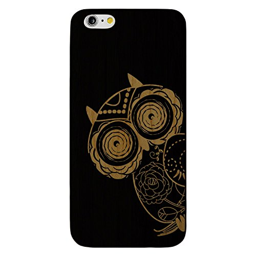 JewelryVolt Wooden Phone Case for iPhone 7 Plus Black Wood Laser Engraved Animal Floral Owl on Branch Sketch