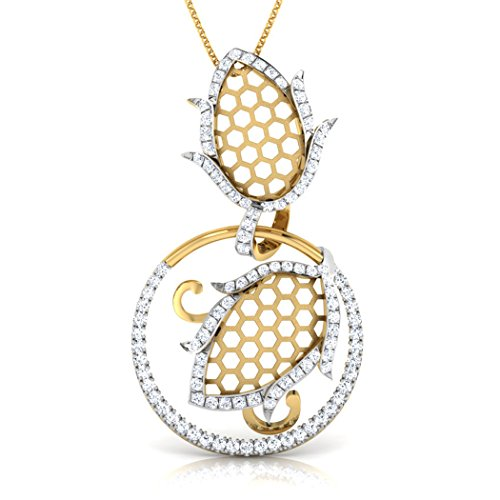 Or blanc 14 K 0.41 carat au total Round-cut-diamond (IJ | SI) Pendentif