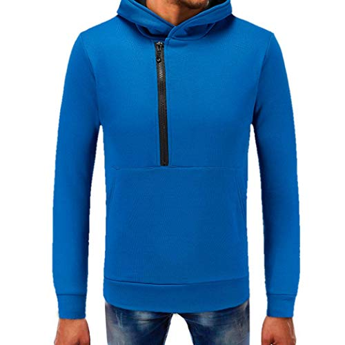 kaifongfu Sweater Top,Men Pure Color Zipper Pullover Tops Long Sleeve Hooded Tops Blouse(Blue,XXL) ()