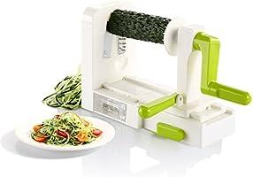 Spiralschneider, Spiralizer mit 5-Schneideaufsätzen Gemüseschneider in Grün Weiß