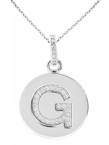 Sterling Silver G Initial Set with CZs and Chain