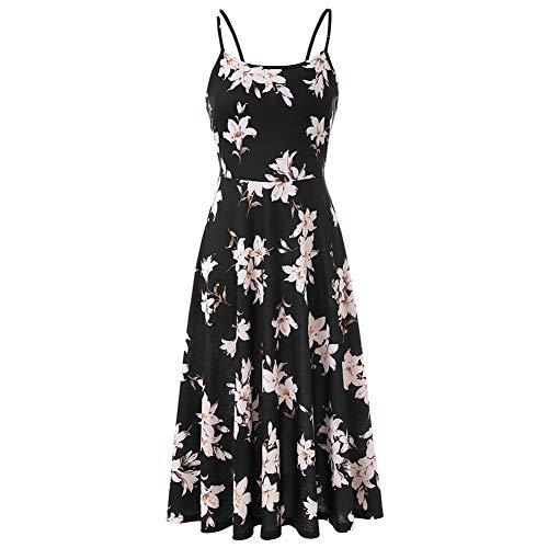 Women's Summer Backless Shoulder Straps Adjustable Casual Floral Printed Flared Swing midi Dresses (Gardenias, Medium)