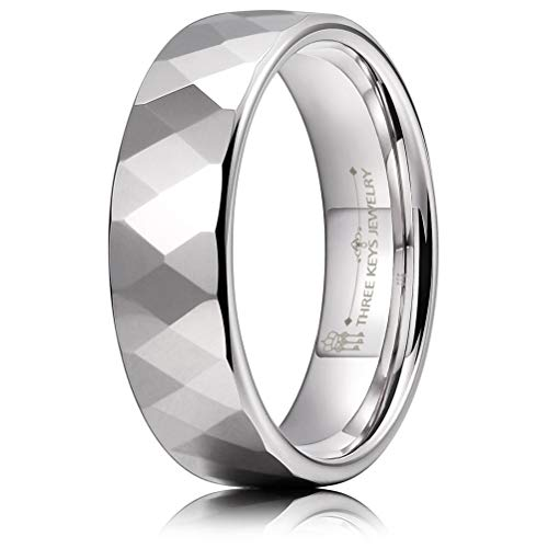 THREE KEYS JEWELRY 6mm Multi-Faceted Silver Tungsten Wedding Ring for Women Wedding Band Engagement Ring Size 7