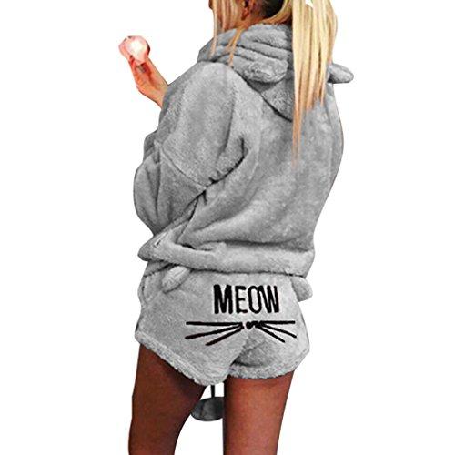 Winter Cat vestito corallo pezzi Shorts Sleepwear Con due velluto da a Grigio di Cute Set cappuccio Outfit Pigiama Juleya di Pattern donna Caldo ZnCzwdZq