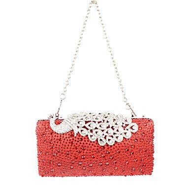Bag Party Wedding Ruby Shimmering Satin Diamonds Bird Hand Event Clutch Evening Purse Bag Rhinestones Lady Peafowl Formal TwfxWaTA