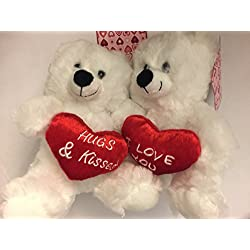 Pair of White Teddy Bear with Heart for Valentines day