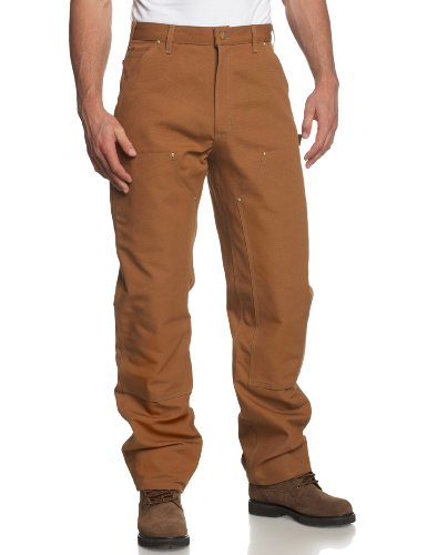Carhartt Men's Firm Duck Double-Front Work Dungaree Pant - 34W x 32L - Carhartt Brown (Clothes Carhartt)