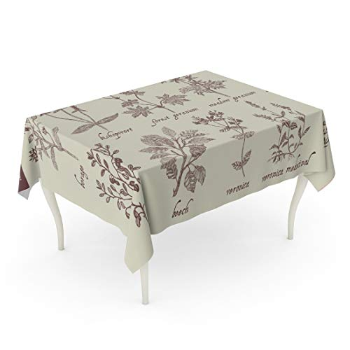 (Tarolo Rectangle Tablecloth 60 x 84 Inch Number Medical Herbs Vintage Borage Bishopwort Forest Geranium Meadow Ground Ivy Blueberry Beech Veronica Medicinal Heather Table Cloth)