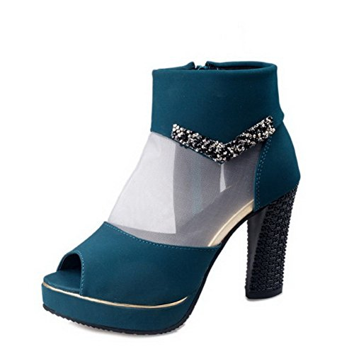 BalaMasa Girls Glass Diamond Zipper Mesh Sandals Darkblue L0ds20XS