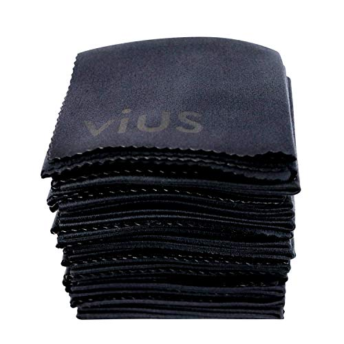 Microfiber Cleaning Cloths [Black] - vius Premium Microfiber Lens and Screen Cleaner Cloths for All LCD Screens, Computers, Lenses and Delicate Surfaces (20 Pack)