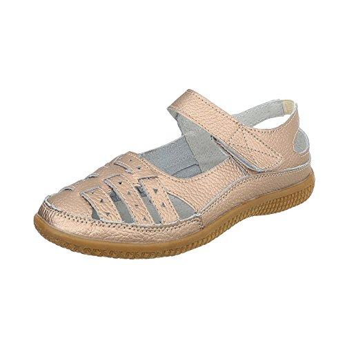 Damen Schuhe Sandalen Leder Klettverschluß Gold