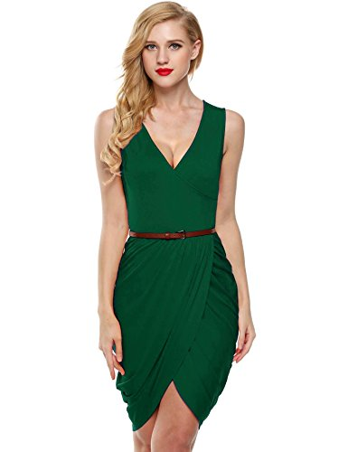 Draped Cocktail Mini Dress (ELESOL Women Faux Wrap High Slit Ruched Cocktail Party Dress with Belt Green S)