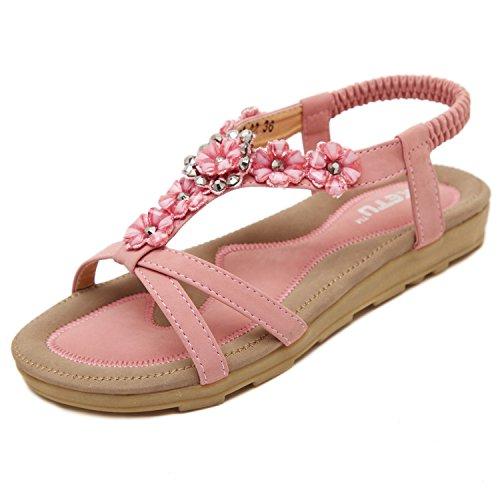 DQQ Strap Ankle Flower Beach Pink Sandal Flat Women's rRqIUr