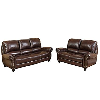 Amazon.com: Abbyson Herzina Leather Reclining Sofa and ...