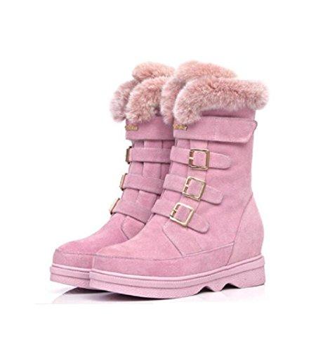 36 36 36 Testa Testa Testa Testa fibbia pink alto velluto pelle donna Casual spessa 37 Boot rotonda stivali in cintura PINK e caldo scarpe imbottito della e piatto neve rRr1wXx