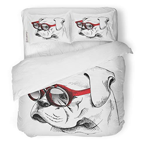 Emvency Decor Duvet Cover Set Twin Size Dog Bulldog Portrait in Red Sunglasses Hipster Glasses Cool Puppy Face English 3 Piece Brushed Microfiber Fabric Print Bedding Set -