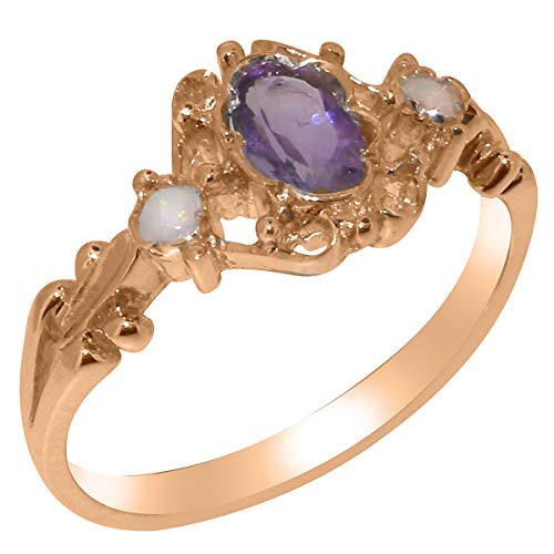 LetsBuyGold 14k Rose Gold Natural Amethyst & Opal Womens Statement Ring - Size - Estate Amethyst Gold Ring