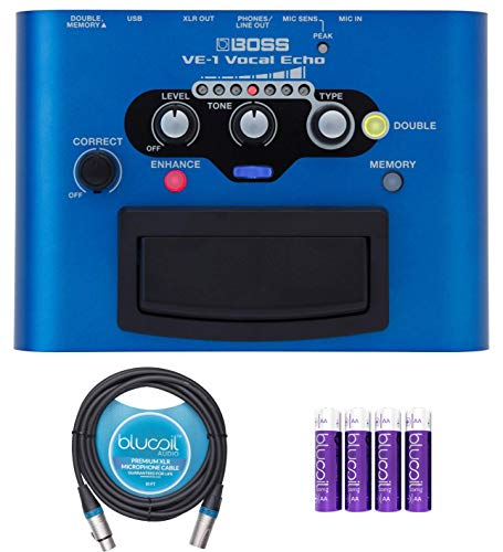 BOSS VE-1 Vocal Echo Portable Effects Processor Bundle with Blucoil 10-Ft Balanced XLR Cable, and 4 AA Batteries