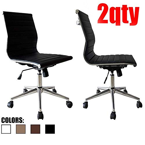 2xhome Set of 2 Office Chair Armless Rolling Modern Ergonomic PU Leather