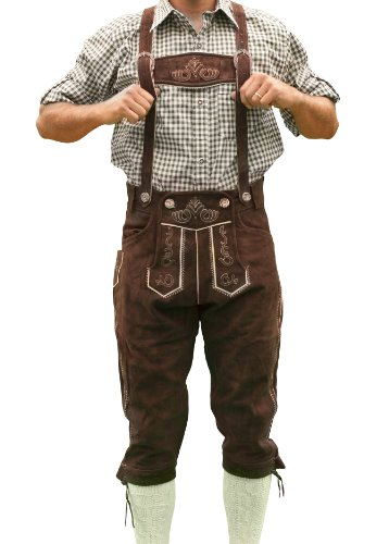 Bavarian Tracht Lederhosen HANS, Bavarian Clothing - 40 - Dark brown]()
