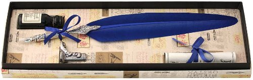 Coles Calligraphy Unisex Feather Quill Ink and Pewter Pen Holder Set - Blue