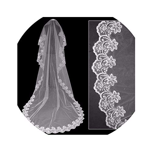 Romantic Long Wedding Veil 3 M One Layer Lace Tulle Bridal Veils With Comb Woman Bridal Party Wedding accessories,WHITE,300cm ()