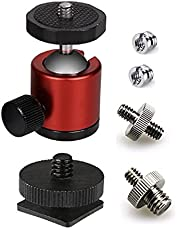 """Lammcou Mini Ball Head with 1/4"""" Hotshoe Mount Adapter, Aluminum 360 Degree Rotatable Tripod Head for DSLR Cameras Tripods Monopods LED Video Light & Microphone,Max. Load 6.6lbs, Red"""