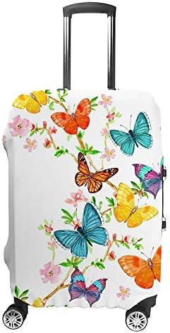 スーツケースカバー トラベルケース 荷物カバー 弾性素材 傷を防ぐ ほこりや汚れを防ぐ 個性 出張 男性と女性美しい蝶