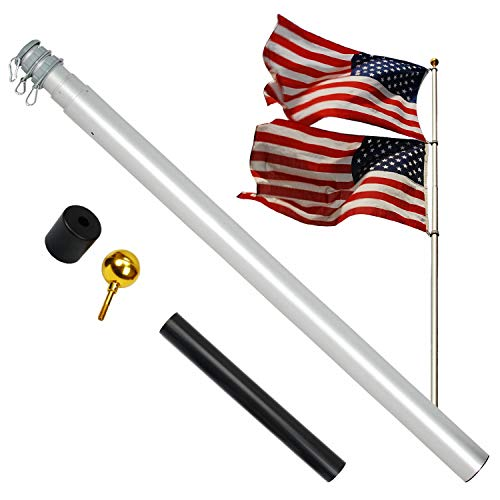 A-ONE 20FT Extra Thick Telescopic American Flag Pole, Heavy Duty 16 Gauge Aluminum US Telescoping Flagpole Kit Fly 2 Flags with Golden Ball Topper for Outdoor Residential or Commercial, Silver