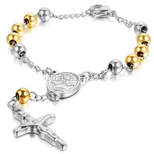 (DLNCTD Stainless Steel Charm Bracelet Gold/Silver Jesus Christ Crucifix Cross Rosary Chain Bracelet 8.6 inch,Gold Silver,United States )