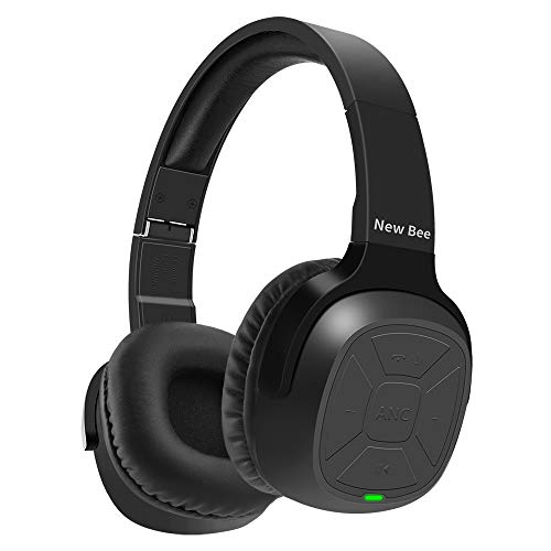 Active Noise Cancelling Bluetooth Headphones New Bee 70H Playtime ANC Wireless Headphones w/Mic Siri Voice Control Hi-Fi Stero Deep Bass for Travel Work TV Phone (Black)