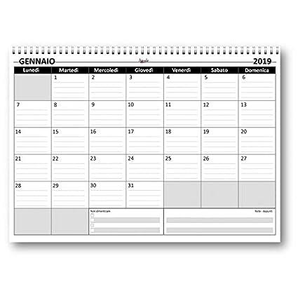 agenda da tavolo mensile SPIRALATO 2019 + 2020 24 fogli da 160 gr Planning mensile 21x30 COLORS bi annuale