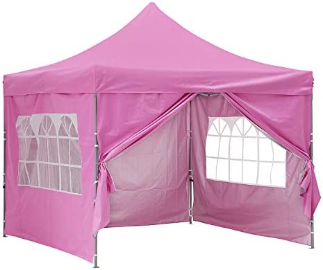 OVASTLKUY 10×10 ft Pop up Canopy Tent Portable Shade with/Without Removable Side Walls Pink