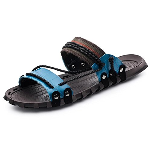 W&XY Leather Sandals Summer Mens XL with anti-slip shower bath slippers 41