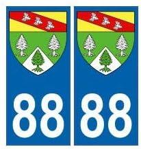 88 Vosges autocollant plaque blason armoiries stickers d/épartement arrondis