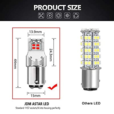 JDM ASTAR High Performance Super Bright 1:1 Design 3020 Chips 1157 2057 7508 Red LED Bulbs: Automotive