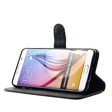 Casos hermosos, cubiertas, Modelo de flores negro de la PU caja del teléfono de cuero para el borde / borde s6 s6 / samsung galaxy s6 plus ( Modelos Compatibles : Galaxy S6 Edge ) Galaxy S6 Edge