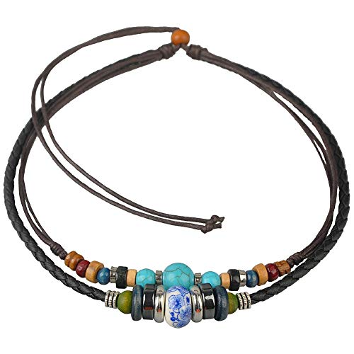 (Ancient Tribe Adjustable Hemp Leather Cords Choker Necklace Turquoise)