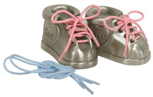 Babys 1st Tooth - Stephan Baby Pewter First Tooth and First Curl Keepsake Shoes