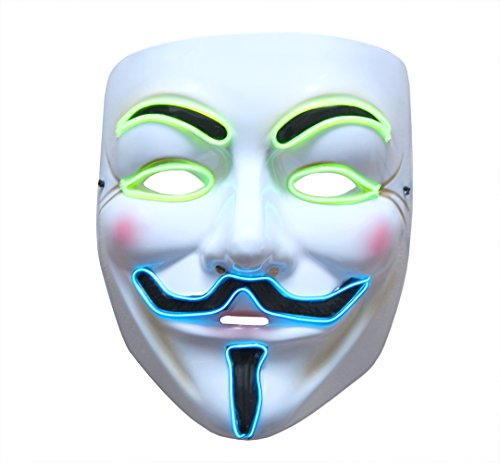 Halloween Mask For Men (Halloween Scary Mask,heytech Cosplay Led Costume Mask EL Wire Light up for Festival Party (V))