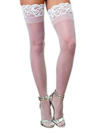 DreamGirl Women's Silicone Lace Top Thigh High