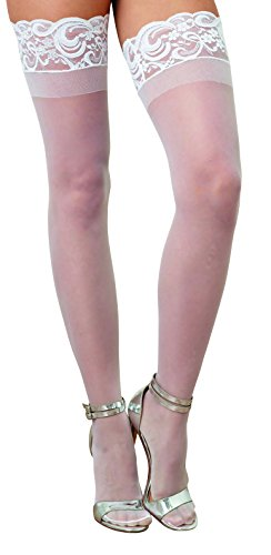 Dreamgirl Women's Sheer Thigh-High Stockings, White, One Size for $<!--$5.99-->
