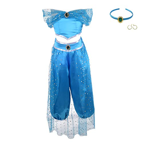 Lito Angels Girls Princess Jasmine Costumes Arabian Princess Dress Up Halloween Outfit with Headband + Earwings