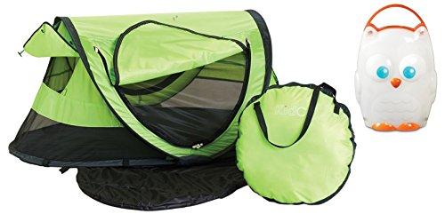 KidCo PeaPod Plus Travel Bed with Portable Owl Nightlight Kiwi