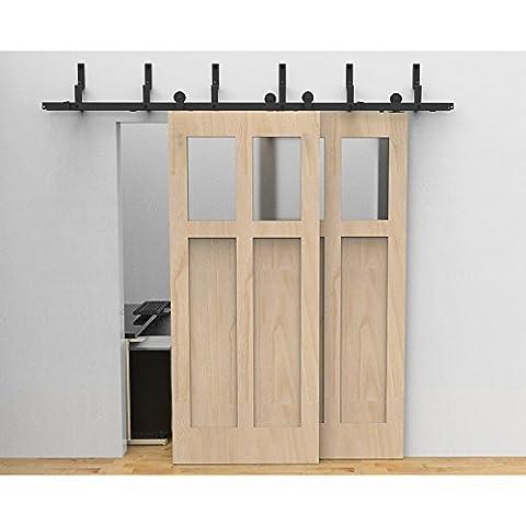 HomeDeco Hardware 5FT Modern Style Black Steel Bypass Double Sliding Barn Door Hardware Track Roller Kit Rolling Closet Wheel Set