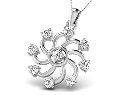 Or Blanc 14 ct Pendentifs Diamant en forme de Fleur, 0.21 Ct Diamant, GH-SI, 0.66 grammes.