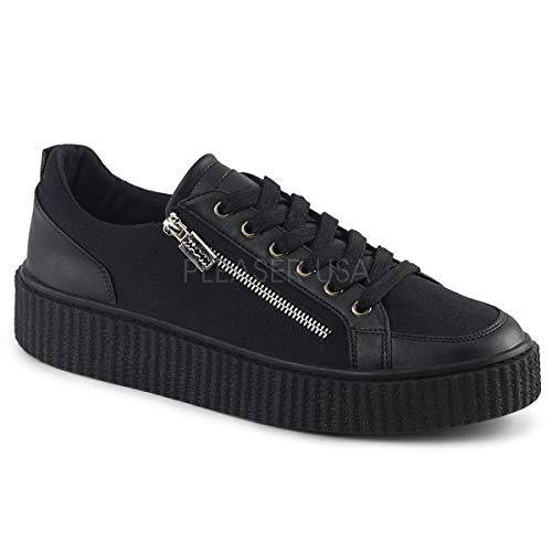 Demonia 1 1/2 Inch Platform Round Toe Lace-Up Front Low Top Creeper Sneaker (Black Canvas-Black ()