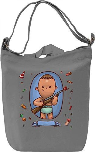 Baby with a gun Borsa Giornaliera Canvas Canvas Day Bag| 100% Premium Cotton Canvas| DTG Printing|