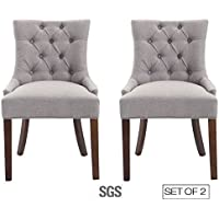 ZXBSWELE Modern Tufted Upholstered Side Chair with Solid Wood Legs and Nailhead, Grey