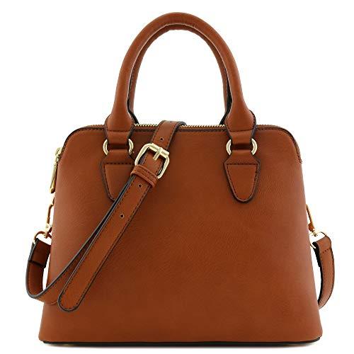 - Classic Double Zip Top Handle Satchel Bag Light Brown